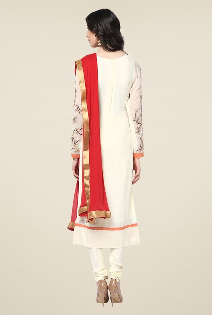 Yepme Elevira Off-white & Red Unstitched Suit Set