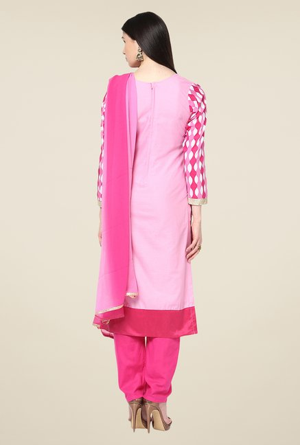 Yepme Ernestine Pink Unstitched Suit Set