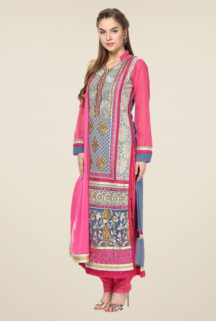 Yepme Raakel Pink & Blue Unstitched Suit Set