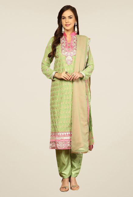 Yepme Romana Green & Pink Unstitched Suit Set