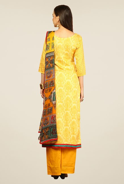 Yepme Rosabelle Yellow Unstitched Suit Set