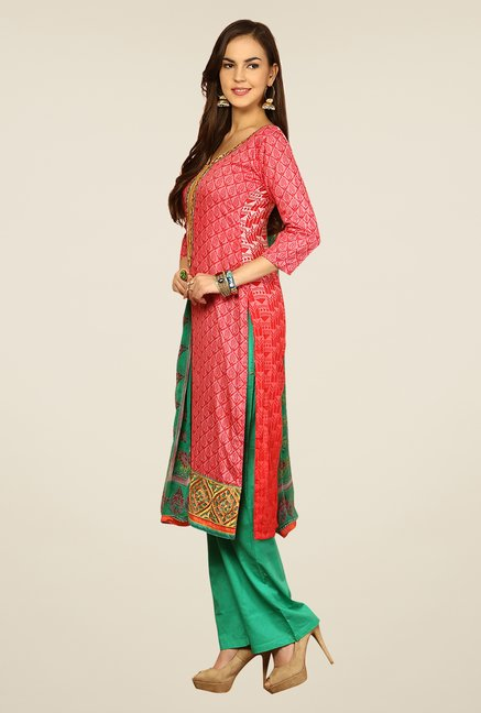 Yepme Rosabelle Pink & Green Unstitched Suit Set
