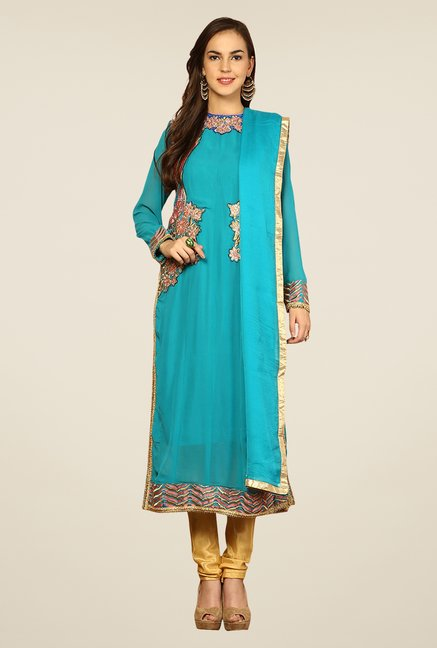 Yepme Blue & Mustard Vanna Unstitched Suit Set