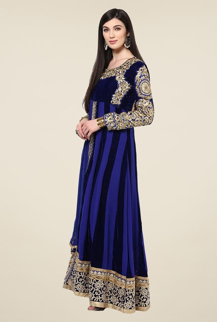 Yepme Royal Blue Sakeena Unstitched Suit Set