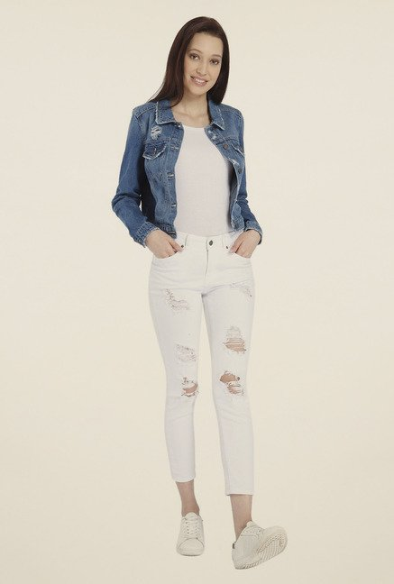 Vero Moda Blue Distressed Jacket