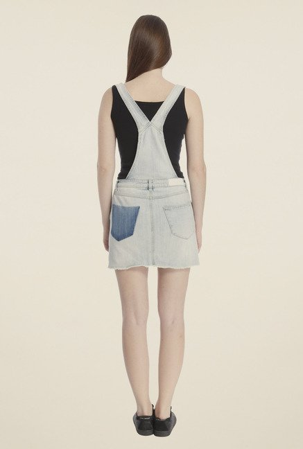 Vero Moda Light Blue Solid Dungaree