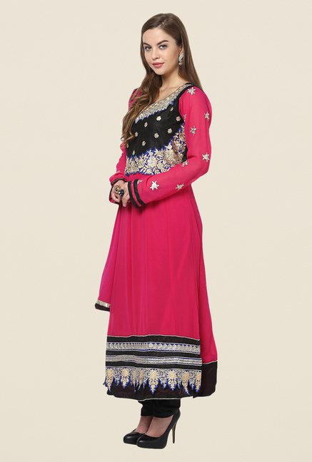 Yepme Pink Chante Unstitched Suit Set