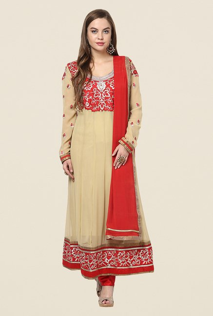 Yepme Beige Chante Unstitched Suit Set