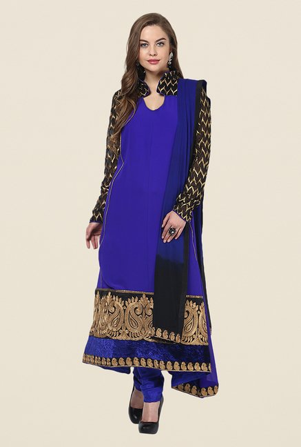 Yepme Blue Chante Unstitched Suit Set