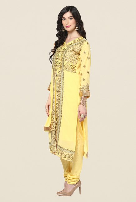 Yepme Yellow Barabal Unstitched Suit Set