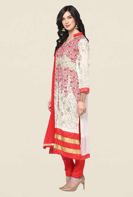 Yepme White & Red Barabal Unstitched Suit Set