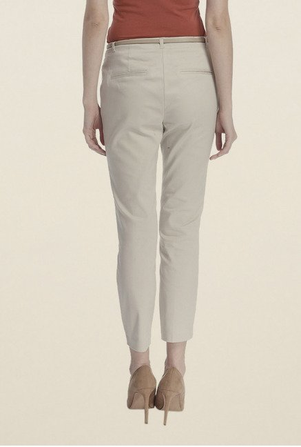 Vero Moda Off White Solid Chinos