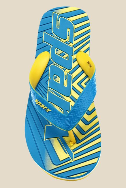 Sparx Sky Blue & Yellow Flip Flops