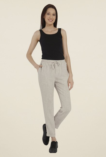Vero Moda Beige Textured Trackpants