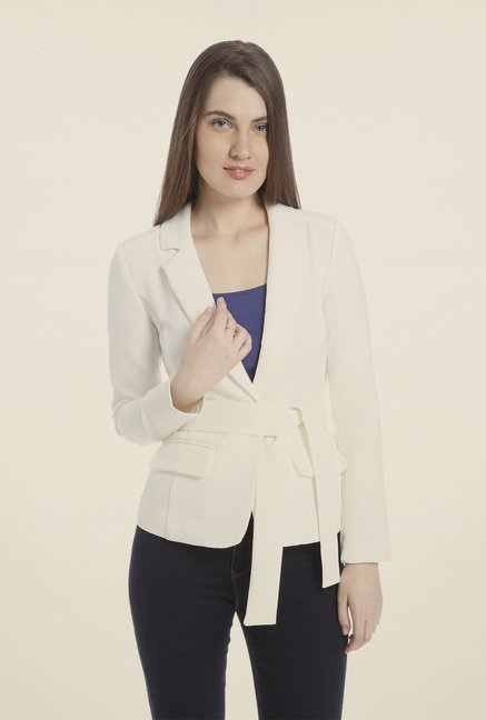 Vero Moda White Solid Jacket