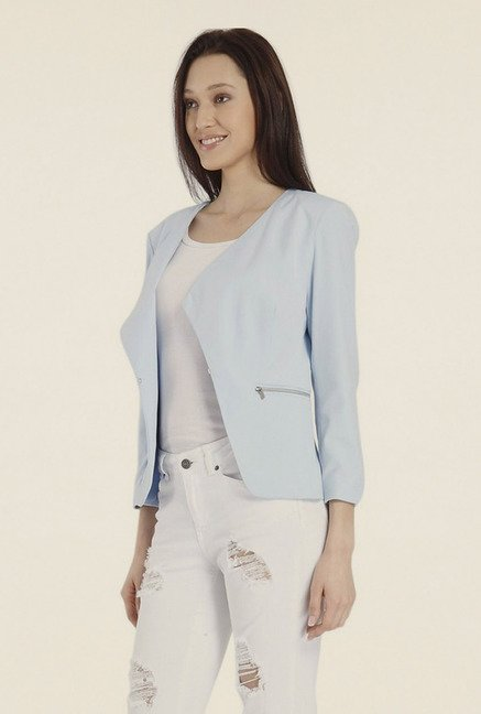 Vero Moda Sky Blue Solid Jacket