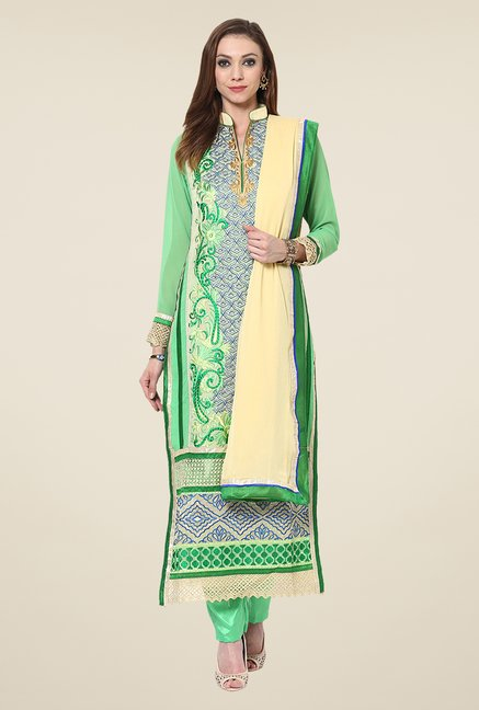 Yepme Vivaana Green Unstitched Suit Set