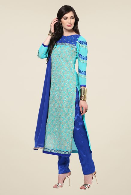 Yepme Romana Light Blue Embroidered Unstitched Suit Set