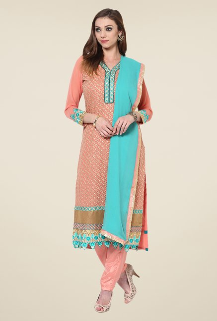 Yepme Romana Peach Embroidered Unstitched Suit Set