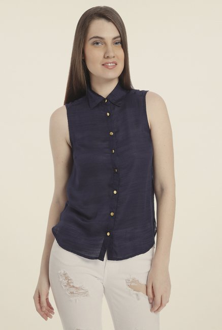 Vero Moda Navy Solid Sleeveless Shirt