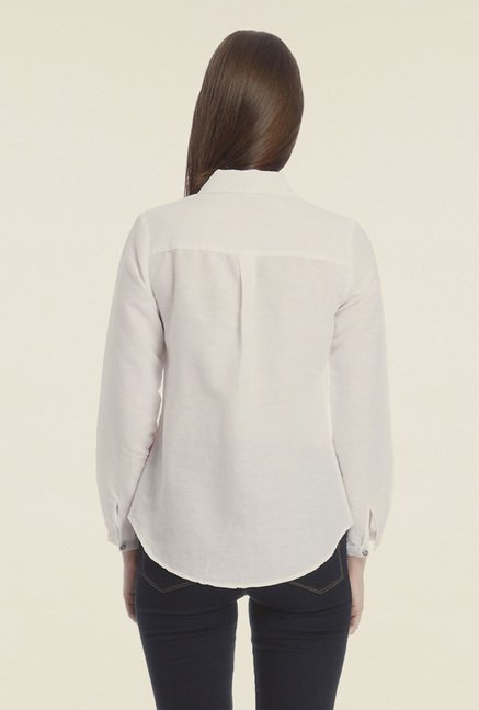 Vero Moda White Solid Shirt
