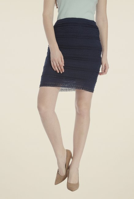 Vero Moda Navy Self Print Skirt