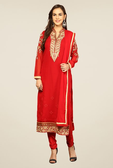 Yepme Red Elevira Unstitched Suit Set