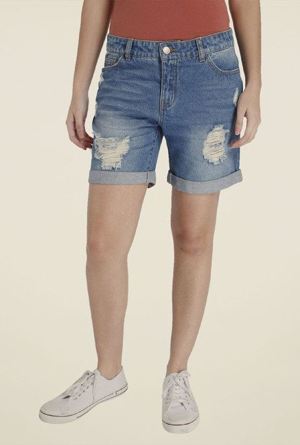 Only Blue Distressed Shorts