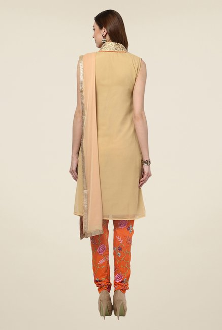 Yepme Peach & Orange Felecia Semi Stitched Suit Set