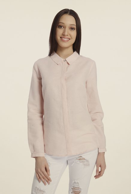 Vero Moda Light Pink Solid Shirt