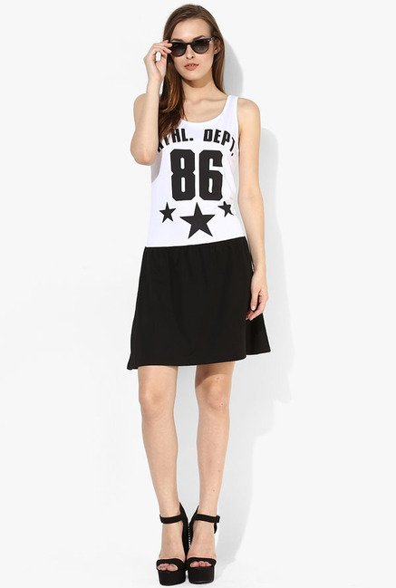 Only White & Black Graphic Print Dress