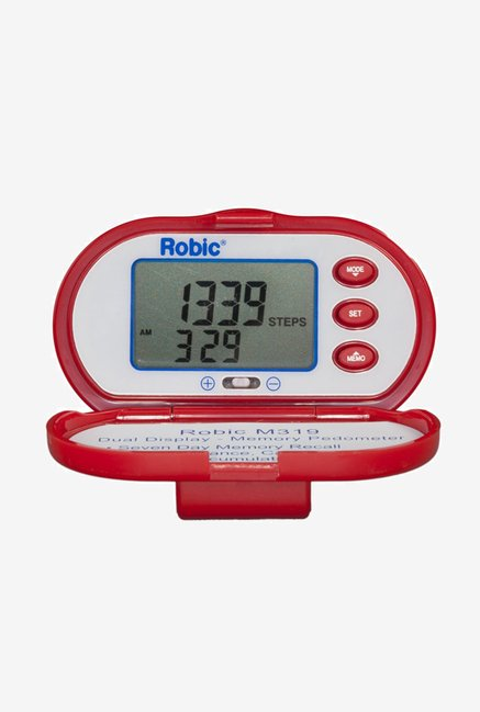 Robic Dual Display Memory Pedometer (Red)