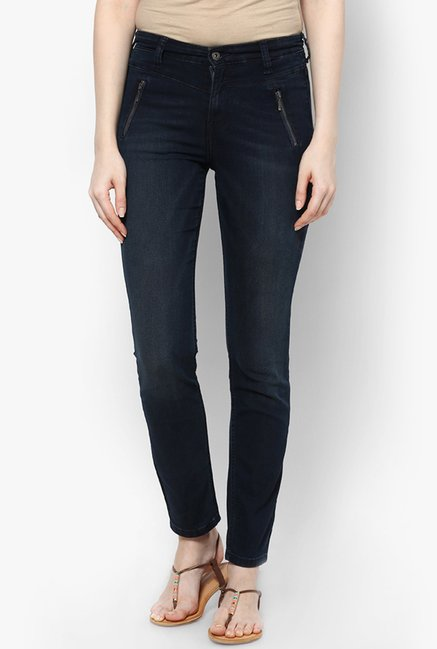 Only Navy Solid Jeans