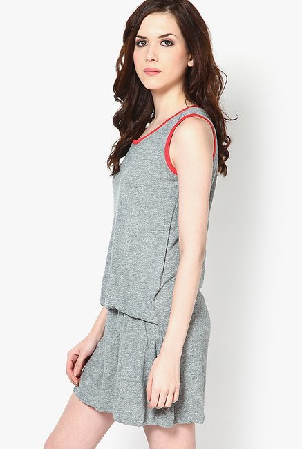 Only Grey Solid Viscose Dress