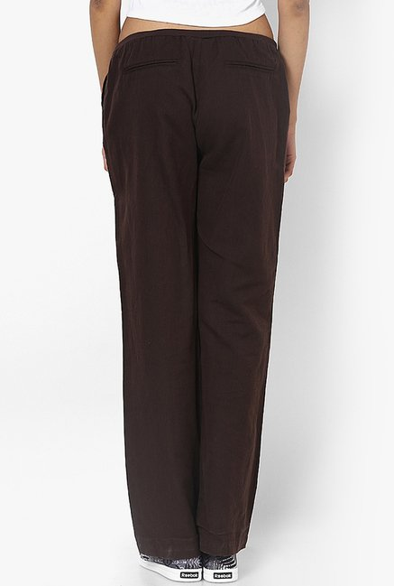Only Brown Solid Trousers