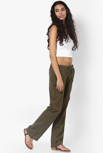 Only Olive Solid Trousers