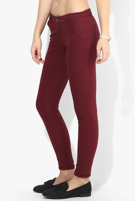 Only Maroon Solid Jeggings
