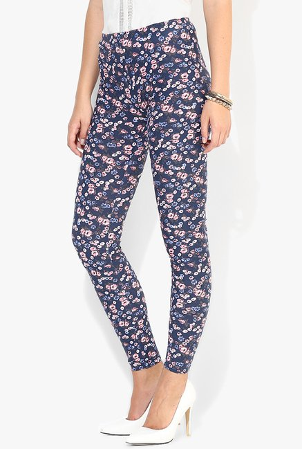 Only Navy Floral Print Jeggings