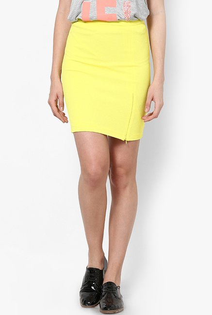 Only Yellow Solid Skirt