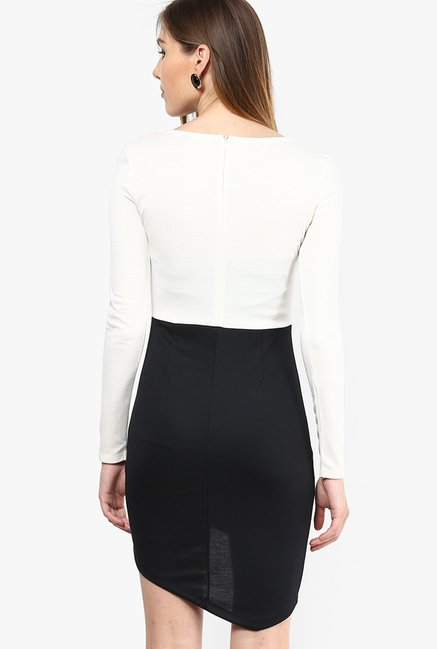 Only Off-white & Black Solid Dress
