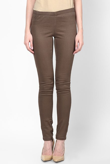 Only Brown Solid Jeggings
