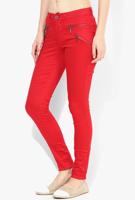 Only Red Solid Jeggings