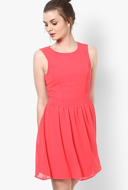 Only Coral Solid Dress