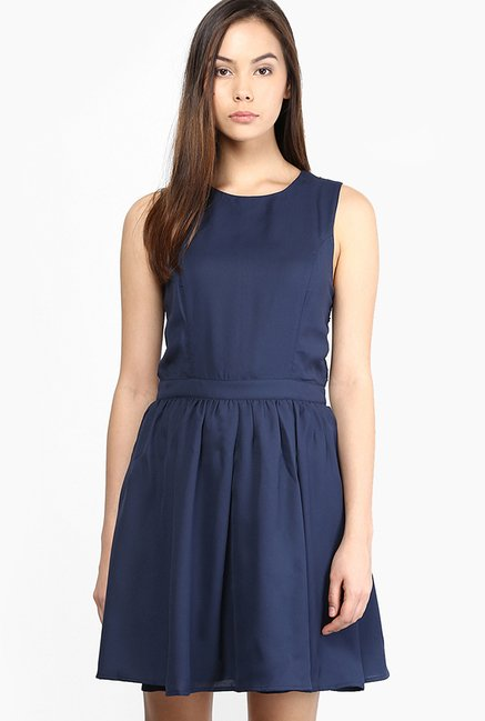 Only Navy Solid Dress