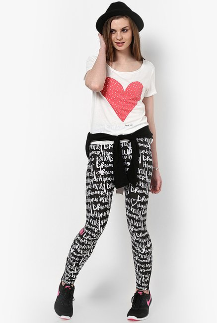 Only Black & White Graphic Print Jeggings