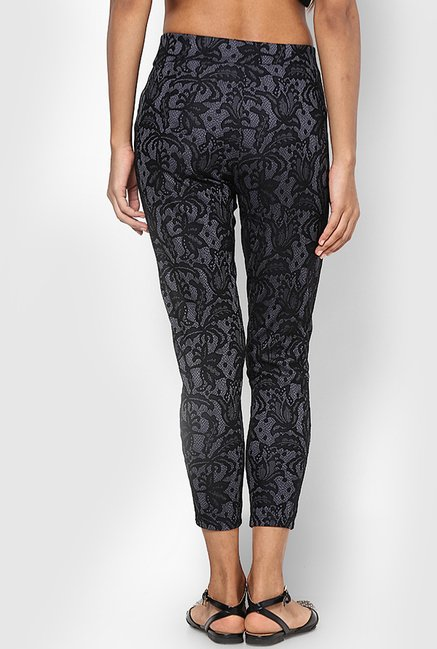 Only Grey Floral Print Jeggings