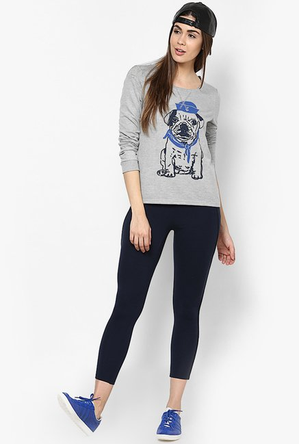 Only Navy Solid Leggings
