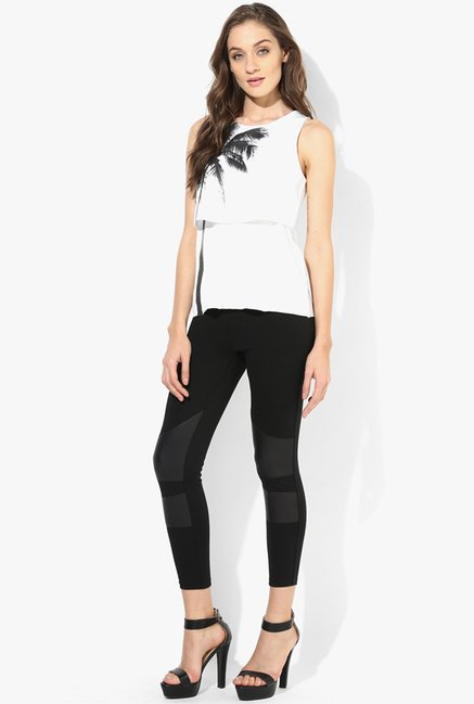 Only Black Solid Paneled Leggings