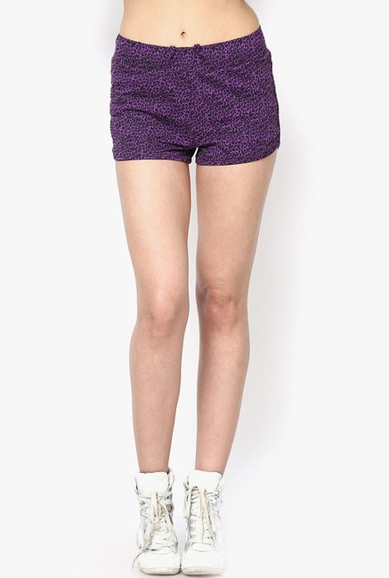 Only Purple Printed Shorts