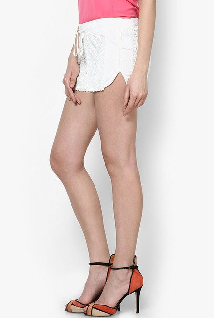 Only White Self Print Shorts